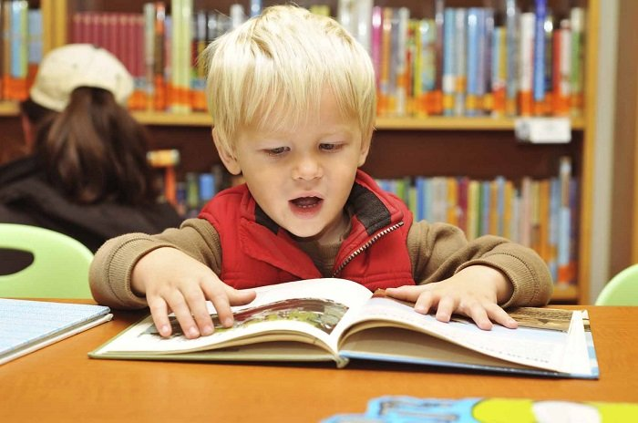 bé trai đọc sách trong thue viện, Tre Gap Van De Ve Ky Nang Doc 1