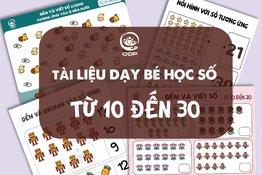 Tài liệu dạy bé học đếm số từ 10 đến 30