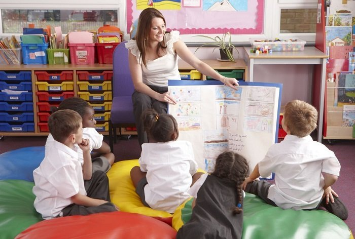 trẻ học song ngữ cùng giáo viên