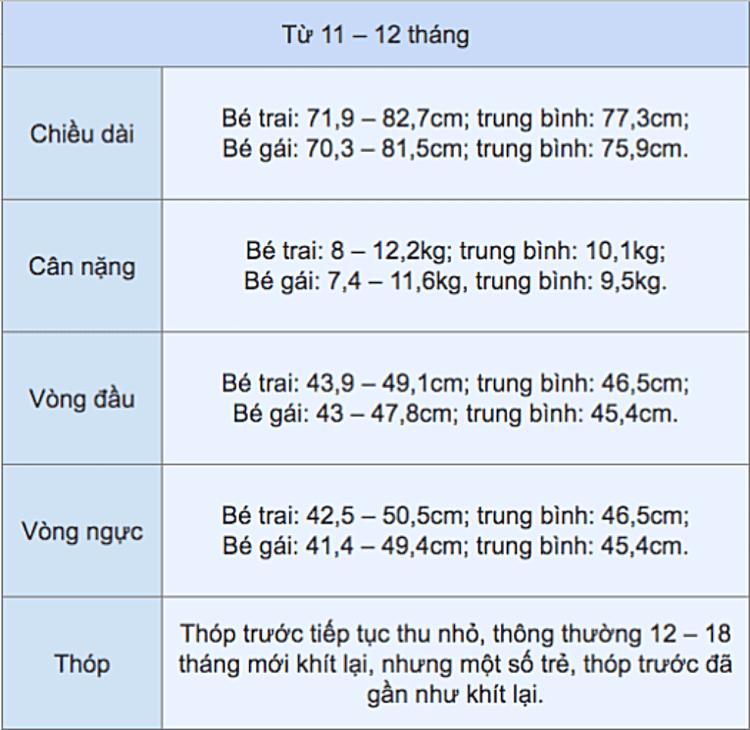 bảng chiều cao cân nặng cho bé 12 tháng tuổi