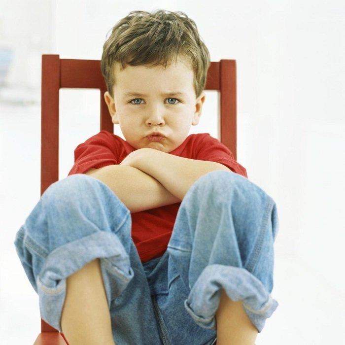 bé trai ngồi trên ghế khoanh tay, ngôn ngữ cơ thể