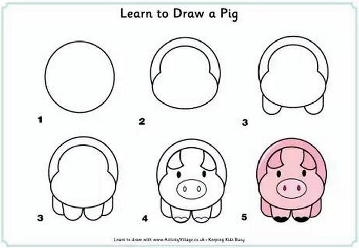 Dạy vẽ cho bé hình con lợn.
