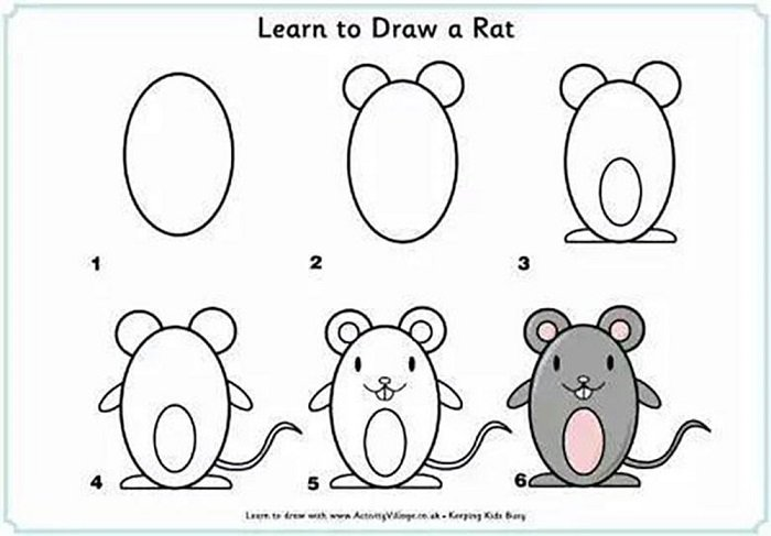 Dạy vẽ cho bé hình con chuột.