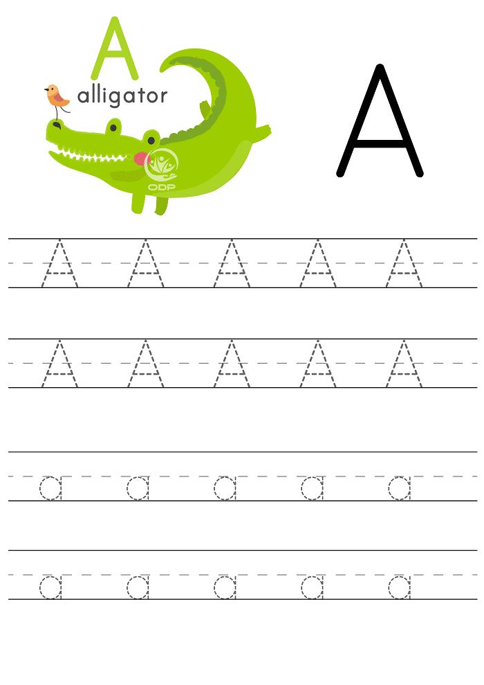 Tài liệu dạy tiếng Anh cho trẻ mầm non viết chữ A.