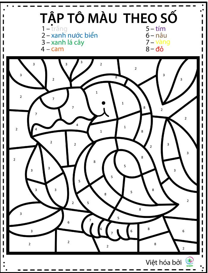 In hình cho bé tập tô màu theo số.