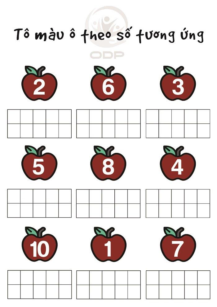 In hình cho bé tập tô màu theo số tương ứng.