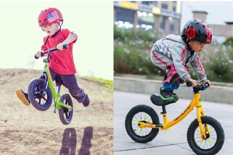 tập cho trẻ đi xe thăng bằng và biểu diễn kỹ thuật