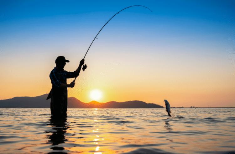 người đàn ông câu cá ở biển